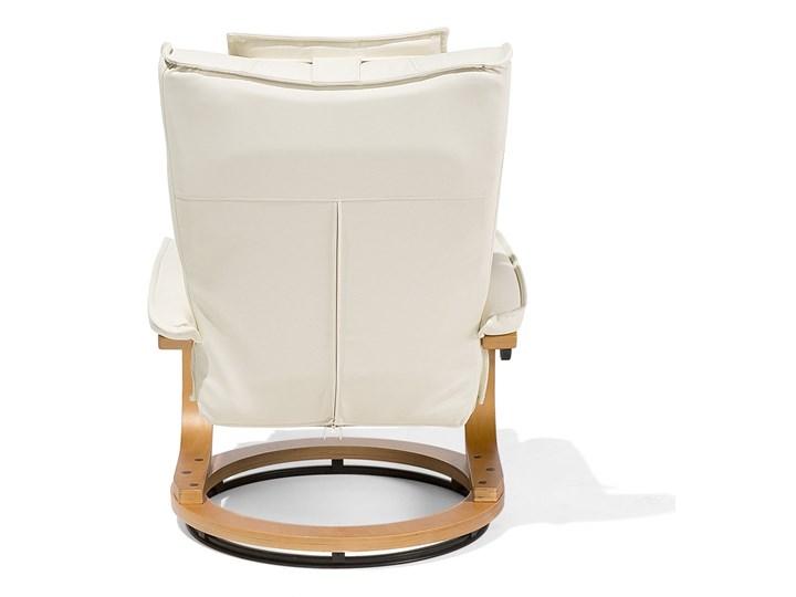 Fotel wypoczynkowy podgrzewany z masażem i podnóżkiem beżowy ekoskóra drewniana rama odchylane oparcie Drewno Pomieszczenie Salon Skóra ekologiczna Fotel masujący Styl Nowoczesny