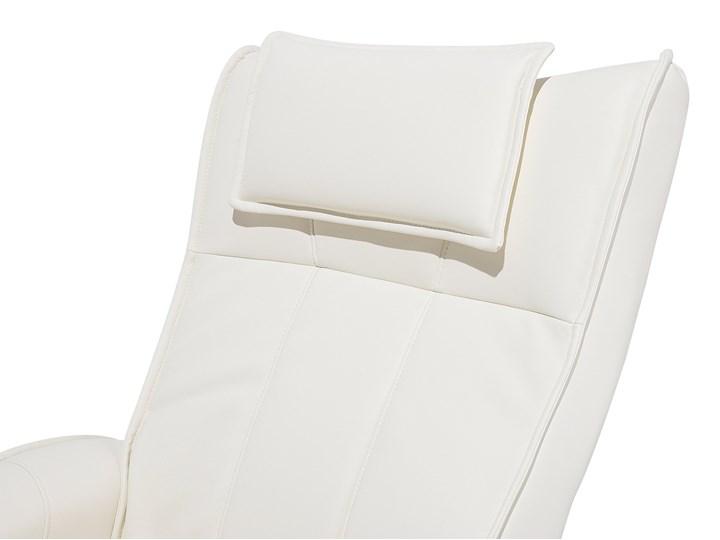 Fotel wypoczynkowy podgrzewany z masażem i podnóżkiem beżowy ekoskóra drewniana rama odchylane oparcie Fotel masujący Skóra ekologiczna Drewno Pomieszczenie Salon