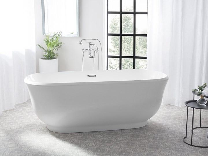 Wanna wolnostojąca biała akrylowa 170 x 77 cm system przelewowy owalna współczesna Kolor Biały Wolnostojące Długość 170 cm Kategoria Wanny