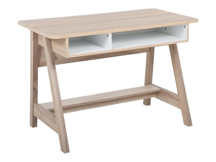 Biurko jasne drewno 110 x 60 x 75 cm styl skandynawski Głębokość 60 cm Płyta MDF Szerokość 110 cm Biurko konsola Pomieszczenie Biuro