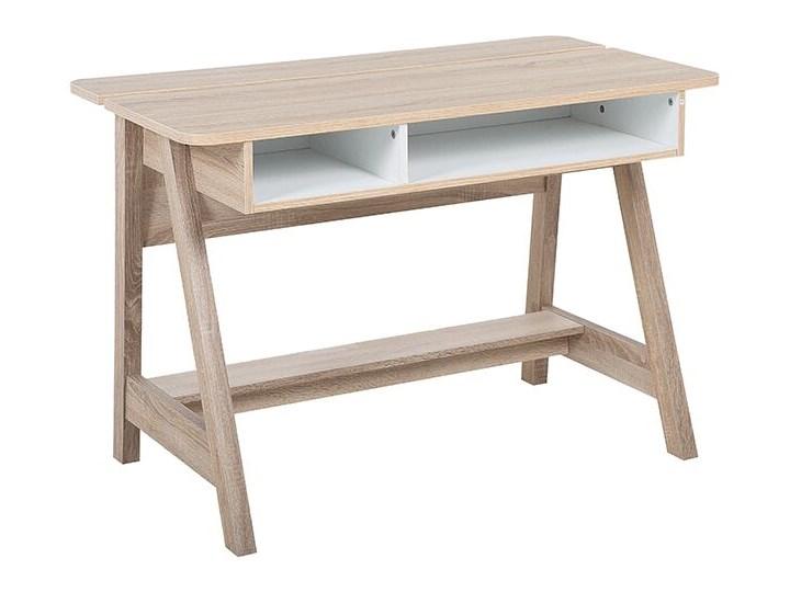 Biurko jasne drewno 110 x 60 x 75 cm styl skandynawski Biurko konsola Szerokość 110 cm Płyta MDF Głębokość 60 cm Kolor Beżowy