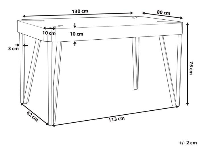Stół do jadalni jasne drewno czarne metalowe nogi 130 x 90 cm prostokątny styl industrialny Pomieszczenie Stoły do jadalni Długość 130 cm  Płyta MDF Kategoria Stoły kuchenne