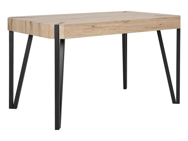 Stół do jadalni jasne drewno czarne metalowe nogi 130 x 90 cm prostokątny styl industrialny Długość 130 cm  Płyta MDF Styl Rustykalny