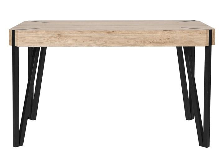Stół do jadalni jasne drewno czarne metalowe nogi 130 x 90 cm prostokątny styl industrialny Długość 130 cm  Kategoria Stoły kuchenne Płyta MDF Rozkładanie