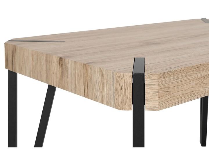 Stół do jadalni jasne drewno czarne metalowe nogi 130 x 90 cm prostokątny styl industrialny Pomieszczenie Stoły do jadalni Długość 130 cm  Płyta MDF Rozkładanie
