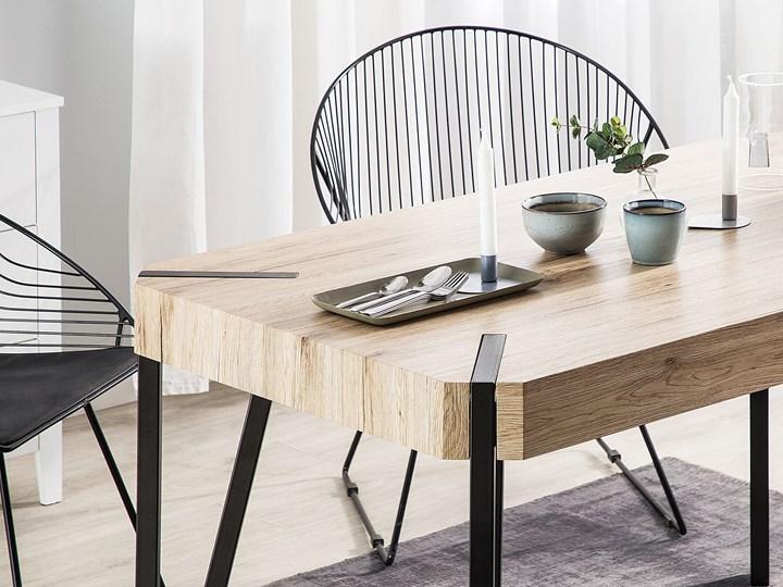 Stół do jadalni jasne drewno czarne metalowe nogi 130 x 90 cm prostokątny styl industrialny Długość 130 cm  Płyta MDF Rozkładanie