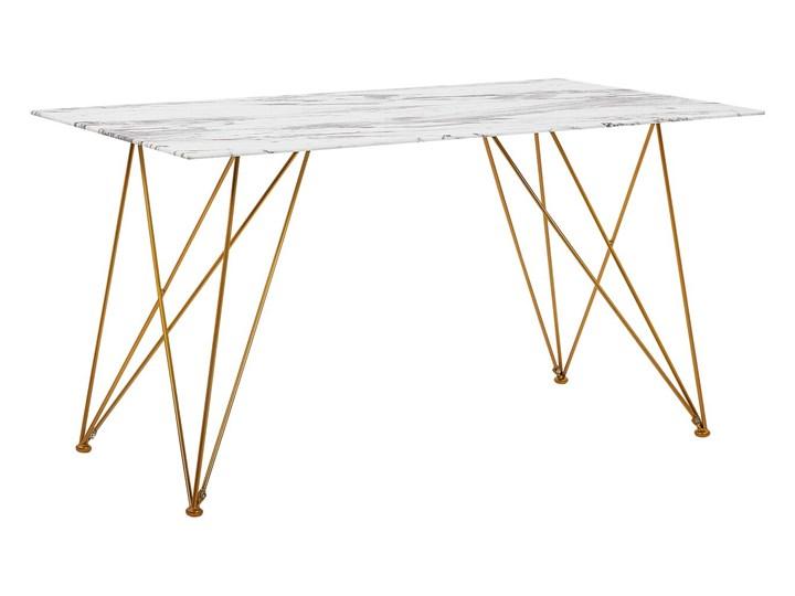 Stół do jadalni efekt marmuru biały ze złotym blat szkło hartowane metalowe nogi 140 x 80 cm styl glam salon Długość 140 cm  Pomieszczenie Stoły do kuchni Pomieszczenie Stoły do jadalni