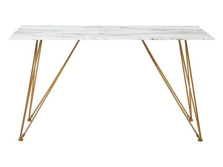 Stół do jadalni efekt marmuru biały ze złotym blat szkło hartowane metalowe nogi 140 x 80 cm styl glam salon Długość 140 cm  Pomieszczenie Stoły do kuchni