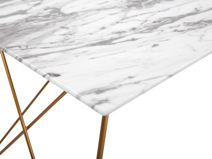Stół do jadalni efekt marmuru biały ze złotym blat szkło hartowane metalowe nogi 140 x 80 cm styl glam salon Długość 140 cm  Rozkładanie