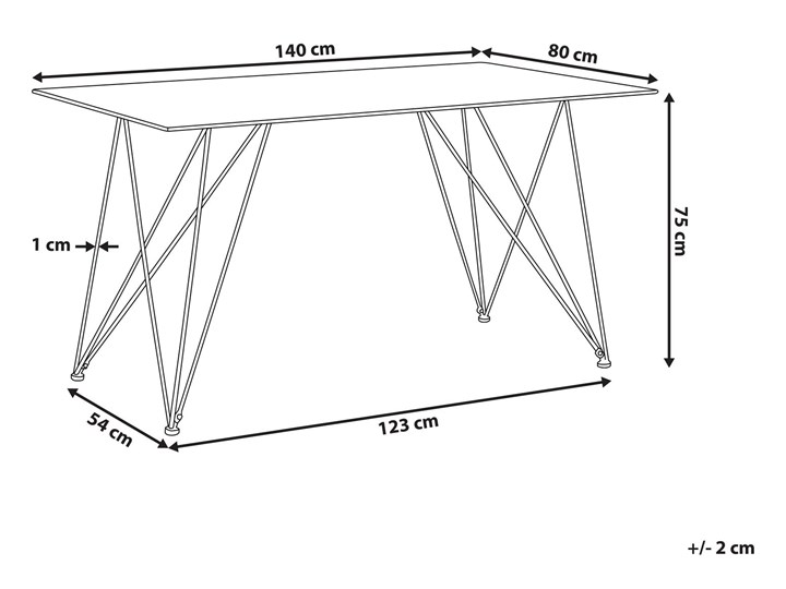 Stół do jadalni efekt marmuru biały ze złotym blat szkło hartowane metalowe nogi 140 x 80 cm styl glam salon Długość 140 cm  Styl Glamour