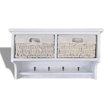 Drewniana półka ścienna z szufladami Stean - biała
