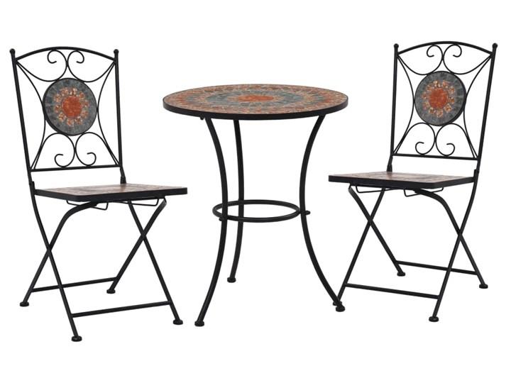vidaXL 3-cz. zestaw mebli bistro z mozaiką, szary/pomarańcz, ceramika
