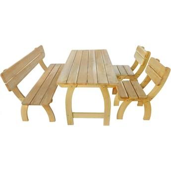 Zestaw drewnianych mebli ogrodowych Darco 2X - brązowy