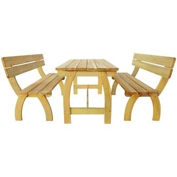Zestaw drewnianych mebli ogrodowych Darco 3X - brązowy