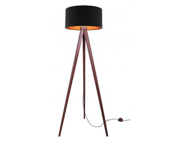 Lampa Stojąca Drewniana Trójnóg Abażur ze Złotym Wnętrzem Drewno Lampa z abażurem Lampa z kloszem Styl Nowoczesny Lampa sztalugowa Lampa LED Kategoria Lampy podłogowe