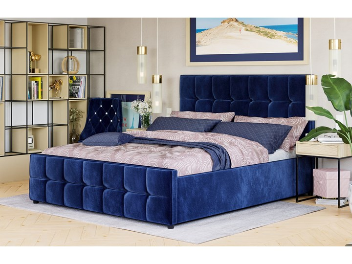 ŁÓŻKO TAPICEROWANE DO SYPIALNI 180X200 SFG015 WELUR #82 Kategoria Łóżka do sypialni Kolor Granatowy