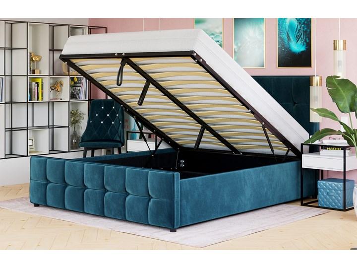 ŁÓŻKO Z MATERACEM TAPICEROWANE 140X200 SFG015 WELUR #77 Łóżko tapicerowane Kolor Rozmiar materaca 140x200 cm