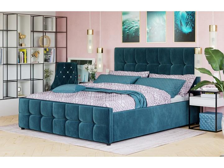 ŁÓŻKO Z MATERACEM TAPICEROWANE 140X200 SFG015 WELUR #77 Łóżko tapicerowane Kolor