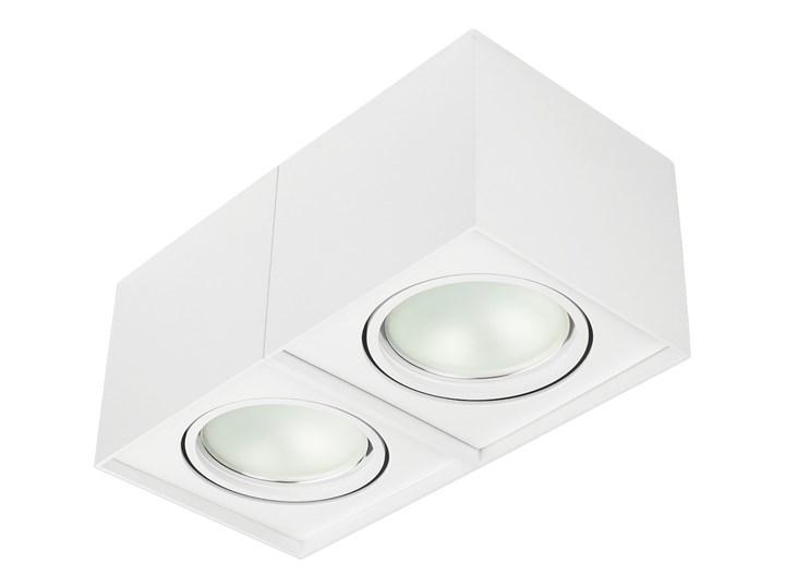 Podwójna oprawa natynkowa ruchoma na sufit ES AR111 2x GU10 biała mat Oprawa halogenowa Kolor Biały Oprawa stropowa Prostokątne Oprawa ruchoma Kategoria Oprawy oświetleniowe