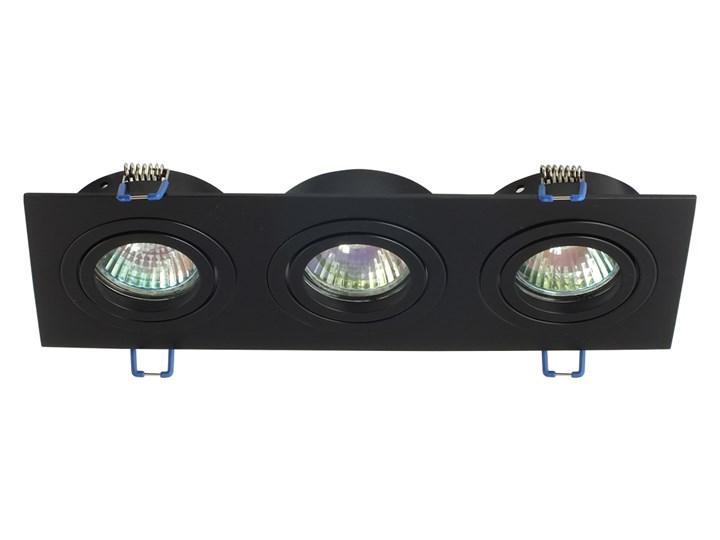 Potrójna sufitowa ruchoma podtynkowa oprawa 3x MR16 GU10 czarna Oprawa stropowa Oprawa ruchoma Prostokątne Oprawa halogenowa Kolor Czarny