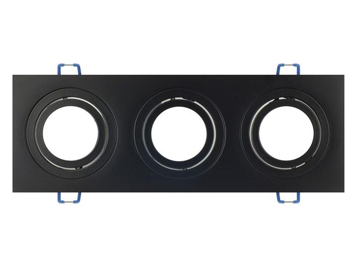 Potrójna sufitowa ruchoma podtynkowa oprawa 3x MR16 GU10 czarna Kolor Czarny Oprawa halogenowa Prostokątne Oprawa ruchoma Oprawa stropowa Kategoria Oprawy oświetleniowe