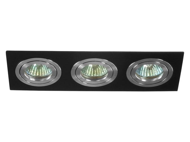 Potrójna sufitowa ruchoma podtynkowa oprawa 3x MR16 GU10 czarna/aluminium Oprawa halogenowa Prostokątne Kolor Czarny Oprawa stropowa Oprawa ruchoma Kategoria Oprawy oświetleniowe