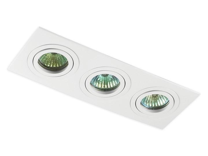Potrójna sufitowa ruchoma podtynkowa oprawa 3x MR16 GU10 biała Oprawa stropowa Prostokątne Oprawa halogenowa Oprawa ruchoma Kolor Biały