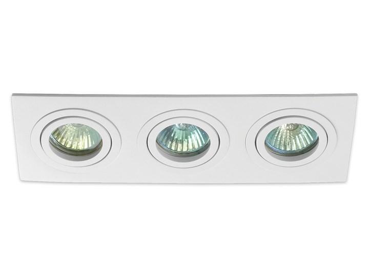 Potrójna sufitowa ruchoma podtynkowa oprawa 3x MR16 GU10 biała Prostokątne Oprawa halogenowa Oprawa ruchoma Oprawa stropowa Kolor Biały