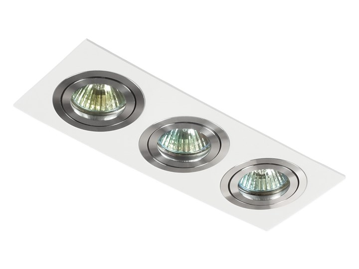 Potrójna sufitowa ruchoma podtynkowa oprawa 3x MR16 GU10 biała/aluminium Kolor Biały Prostokątne Oprawa ruchoma Oprawa stropowa Oprawa halogenowa Kategoria Oprawy oświetleniowe