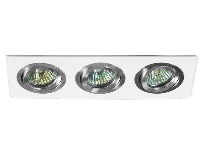 Potrójna sufitowa ruchoma podtynkowa oprawa 3x MR16 GU10 biała/aluminium Oprawa halogenowa Oprawa stropowa Oprawa ruchoma Prostokątne Kolor Biały