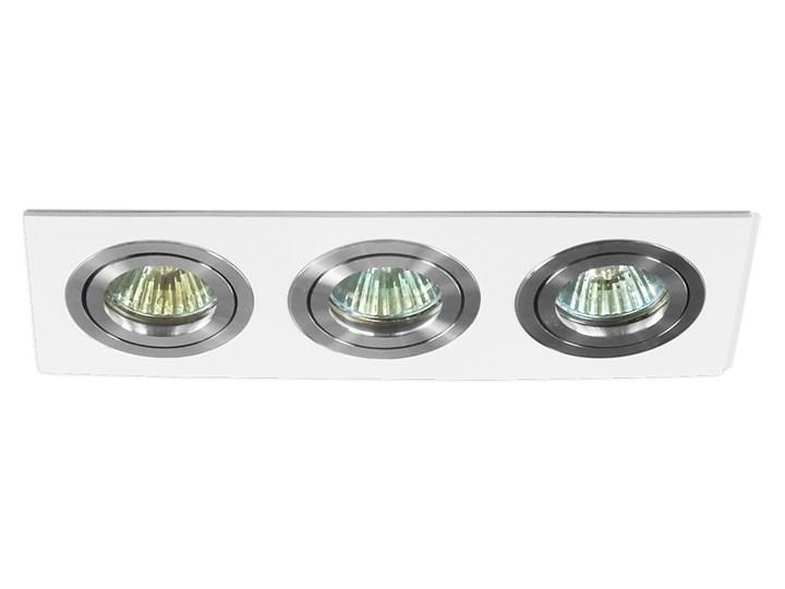 Potrójna sufitowa ruchoma podtynkowa oprawa 3x MR16 GU10 biała/aluminium Oprawa ruchoma Kolor Biały Oprawa halogenowa Oprawa stropowa Prostokątne Kategoria Oprawy oświetleniowe