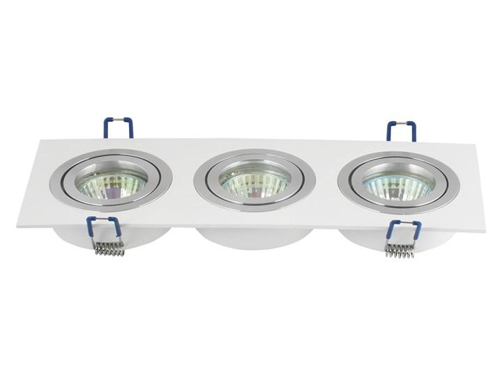 Potrójna sufitowa ruchoma podtynkowa oprawa 3x MR16 GU10 biała/aluminium Oprawa stropowa Oprawa ruchoma Oprawa halogenowa Kolor Biały Prostokątne Kategoria Oprawy oświetleniowe