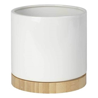 Osłonka doniczki Bamboo 19 cm biała