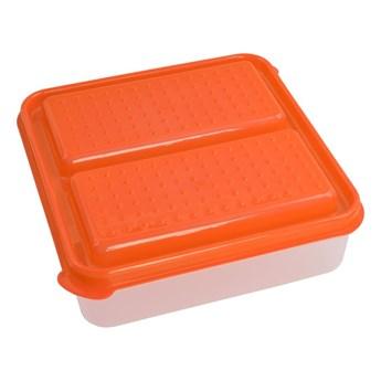 DUOBOX 2in 1, pojemnik na żywność pomarańczowy, 500 + 500 ml