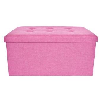 Składany puf, z miejscem do przechowywania rozm. XL, różowy melange