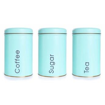 3 SZT. ZESTAW metalowych okrągłych pojemników, Tea, Sugar, Coffee mint
