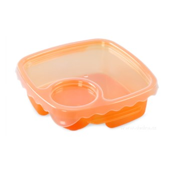 Duobox, pojemnik na żywność pomarańczowy, 500 ml + 100 ml