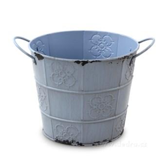 XXL Dekoracyjna osłonka na doniczkę, metalowa z patyną pastelowy fiolet