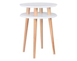 Stolik kawowy okrągły drewniany RAGABA UFO wysoki - kolor biały/ kolor nóg naturalny buk