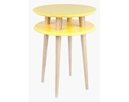 Stolik kawowy okrągły drewniany RAGABA UFO wysoki - kolor żółty/ kolor naturalny buk