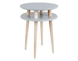 Stolik kawowy okrągły drewniany RAGABA UFO wysoki - kolor ciemnoszary/ kolor nóg naturalny buk