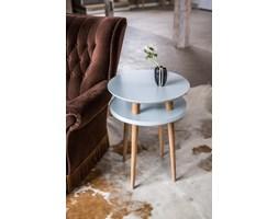 Stolik kawowy okrągły drewniany RAGABA UFO wysoki - kolor jasnoszary/ kolor nóg naturalny buk