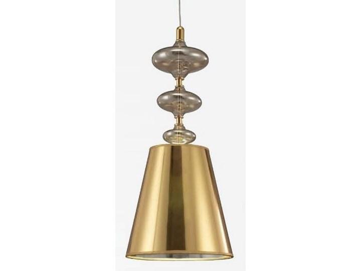NOWOCZESNA LAMPA WISZĄCA ZŁOTA VENEZIANA W1 Metal Lampa z kloszem Chrom Tkanina Szkło Styl Klasyczny