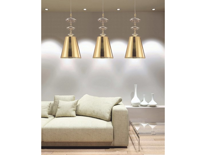 NOWOCZESNA LAMPA WISZĄCA ZŁOTA VENEZIANA W1 Lampa z kloszem Chrom Szkło Ilość źródeł światła 1 źródło Metal Tkanina Kategoria Lampy wiszące
