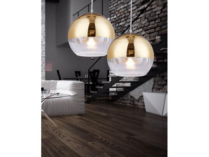 NOWOCZESNA LAMPA WISZĄCA ZŁOTA VERONI D20 Metal Lampa z kloszem Szkło Lampa z abażurem Styl Nowoczesny