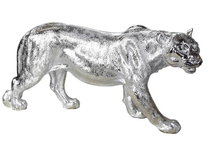 Srebrna figura lwicy 78 x 16 x 36 cm Żywica Zwierzęta Kolor Srebrny