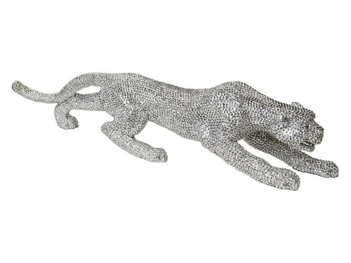 """Srebrna """"diamentowa"""" figura lamparta 55 x 12 x 14 Żywica Zwierzęta Kolor Srebrny"""