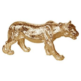 Złota figura lwicy 52 x 14 x 25 cm