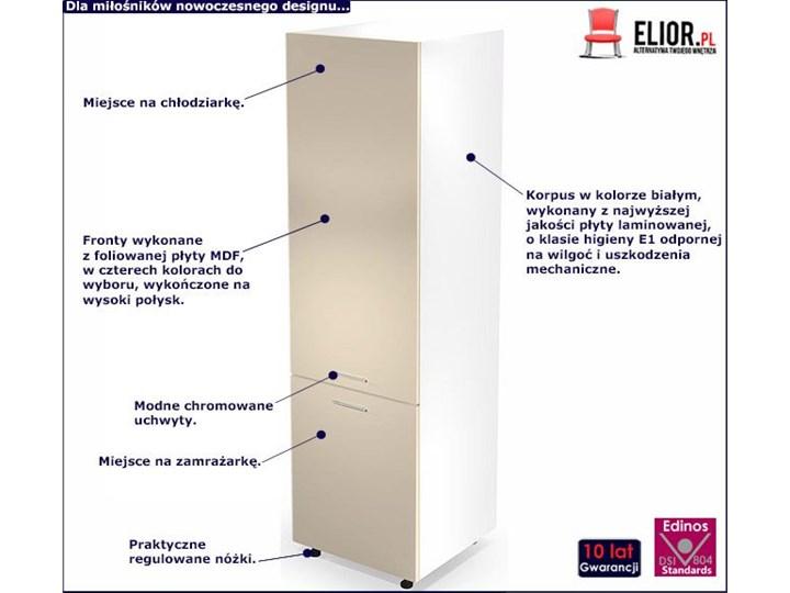 Kuchenna szafka do zabudowy lodówki Limo 14X - jasny beż połysk Kolor Beżowy Płyta MDF Drewno Kategoria Szafki kuchenne