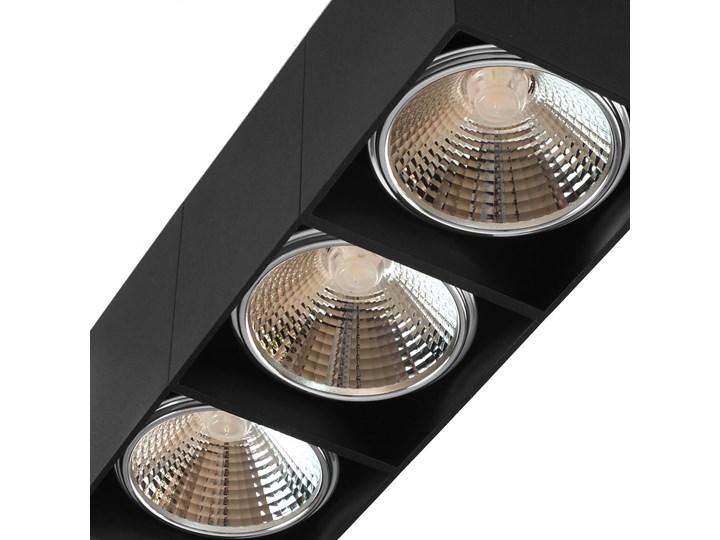 Potrójna ruchoma sufitowa oprawa natynkowa w kolorze czarnym AR ES111 Oprawa ruchoma Oprawa stropowa Oprawa halogenowa Prostokątne Kategoria Oprawy oświetleniowe